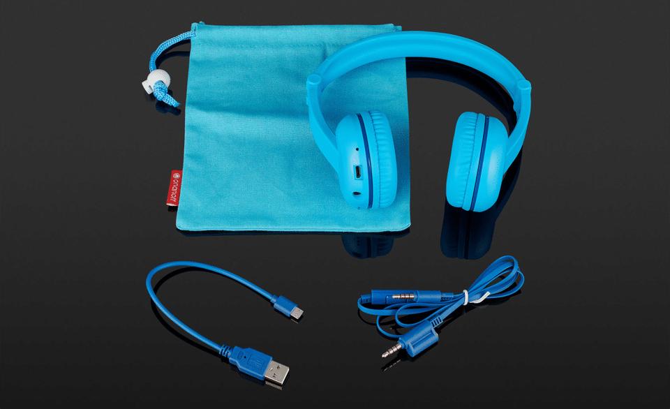 Accesorii și căști BudyPhones Play albastre.