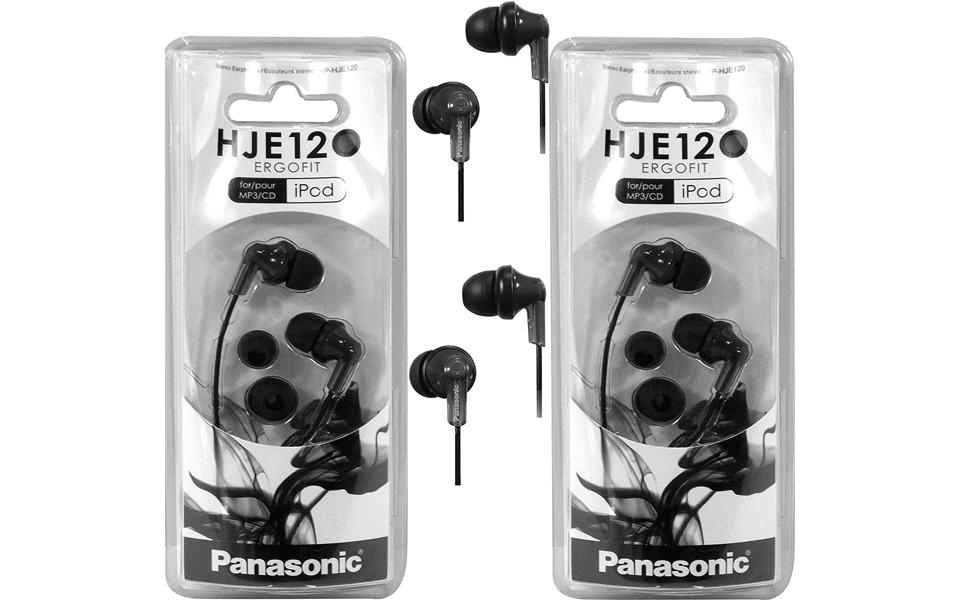 Două perechi de căști Panasonic ErgoFit RP-HJE120 în cutii.