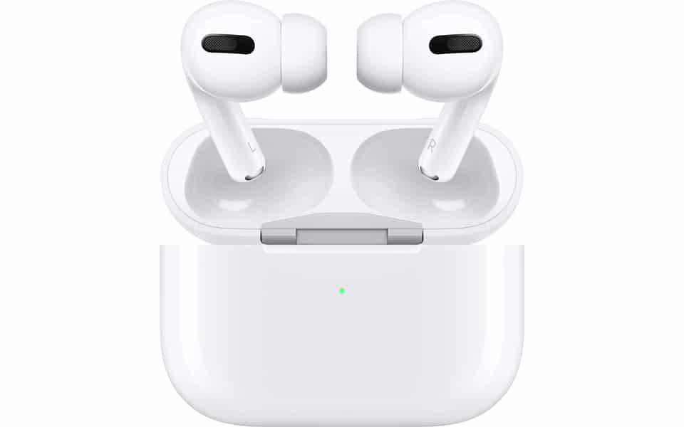 Carcasa si casti Apple AirPods Pro.