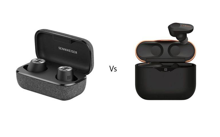 Carcasa si casti Sennheiser Momentum True Wireless 2 vs Sony WF-1000XM3