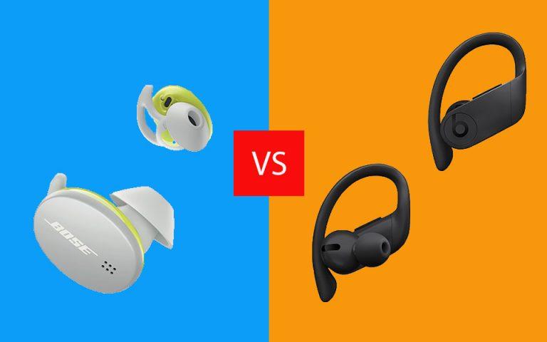 Casti Bose Sport Earbuds vs Beats PowerBeats Pro.