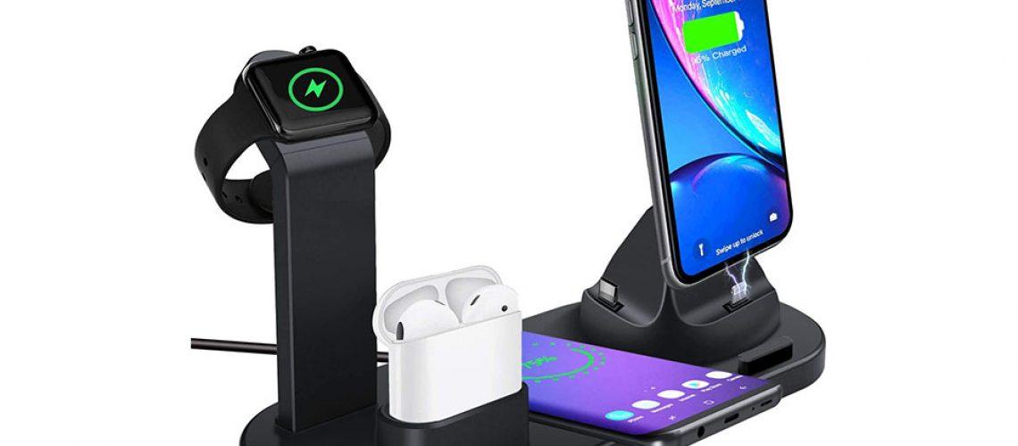 Statie de incarcare wireless Qi cu diferite dispozitive Apple.