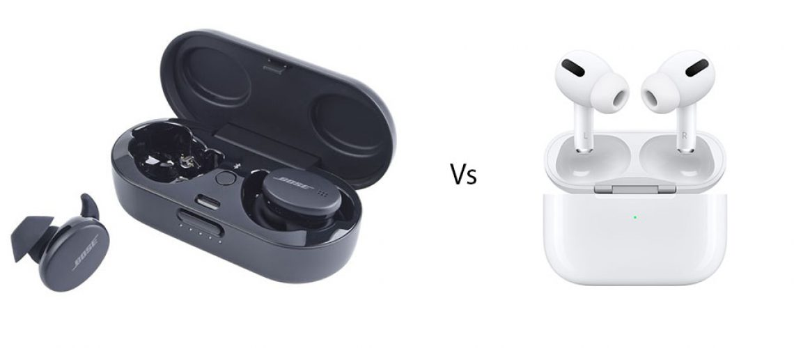 Carcasa si casti Bose Sport Earbuds vs. Apple AirPods Pro