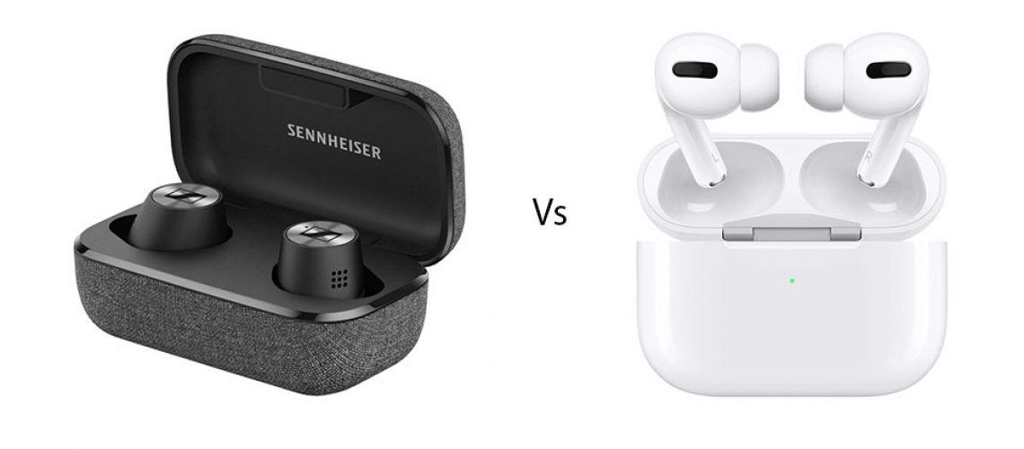 Carcasa si casti Sennheiser Momentum True Wireless 2 vs. Apple AirPods Pro.